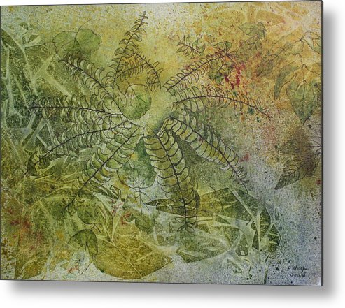 Mystical Landscape Metal Print featuring the painting Garden Mist by Patsy Sharpe