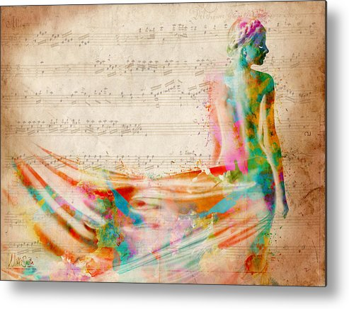Mozart Metal Print featuring the digital art Goddess Of Music by Nikki Smith