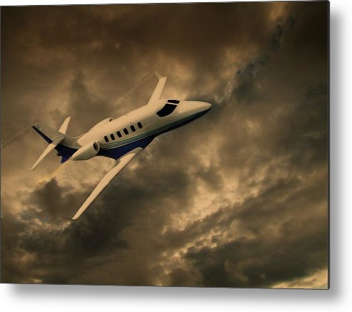 Jet Metal Print featuring the photograph Jet Through The Clouds by David Dehner