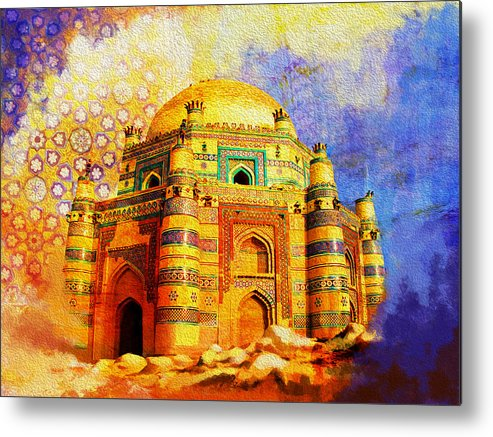 Pakistan Metal Print featuring the painting Mai Jwandi Tomb On Makli Hill by Catf