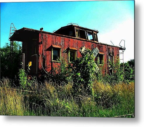 Caboose Metal Print featuring the photograph Old Caboose by Julie Dant