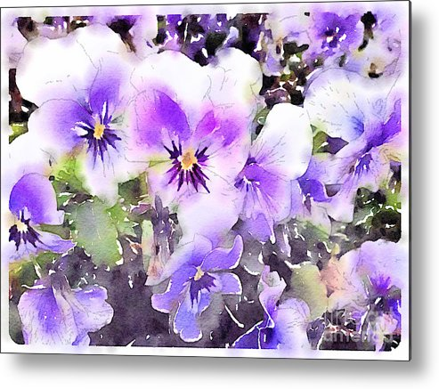 Pansies Metal Print featuring the painting Pansies Watercolor by John Edwards