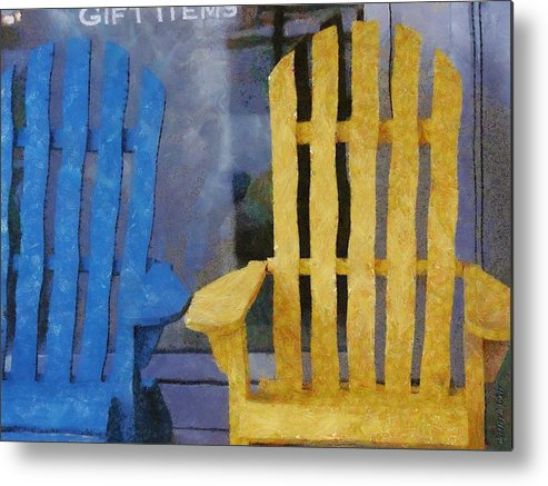 Chair Metal Print featuring the painting Parking Spot by Jeff Kolker