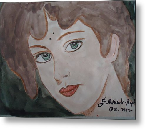 Face Metal Print featuring the painting The Woman From The Market... by Fladelita Messerli-