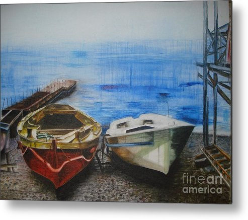 Landscape Metal Print featuring the painting Tranquility Till Tide From The Farewell Songs by Prasenjit Dhar