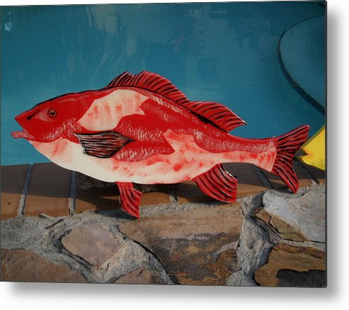 Fish Metal Print featuring the mixed media Wooden Red Snapper by Val Oconnor