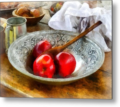 Meal Metal Print featuring the photograph Apples In A Silver Bowl by Susan Savad