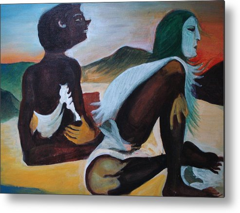 Hills Metal Print featuring the painting Hallucination by Prasenjit Dhar