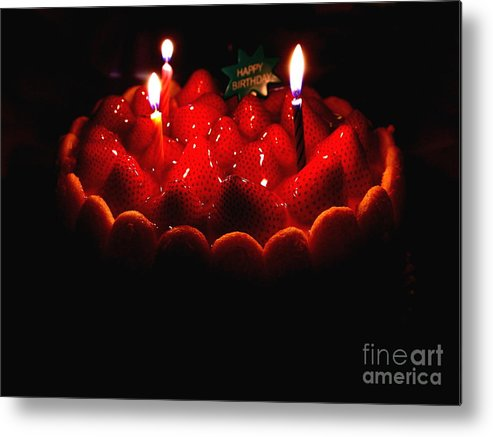 Cake Metal Print featuring the photograph Happy Birthday Strawberry Charlotte Cake by Wingsdomain Art and Photography