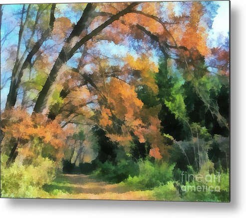 Odon Metal Print featuring the painting The Autumn Forest by Odon Czintos