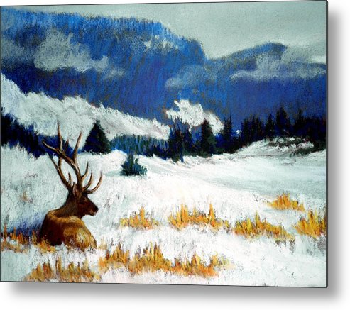Mountain Snow Landscape Painting Metal Print featuring the pastel High Country Elk by Curt Peifley