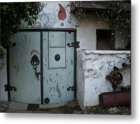Feed Mill Cafe Metal Print featuring the photograph Blue Door by Sheep McTavish