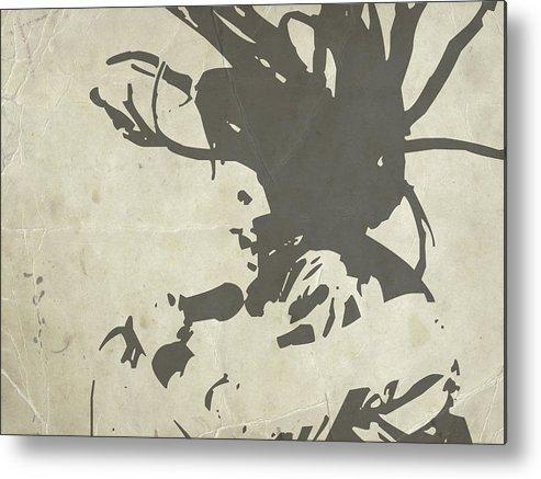 Bob Marley Metal Print featuring the painting Bob Marley Grey by Naxart Studio