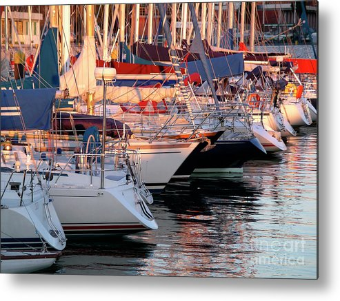 Anchor Metal Print featuring the photograph Docked Yatchs by Carlos Caetano