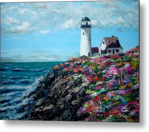 Lighthouse Sea Metal Print featuring the painting Lighthouse At Flower Point by Jack Skinner