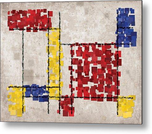 Mondrian Metal Print featuring the digital art Mondrian Inspired Squares by Michael Tompsett