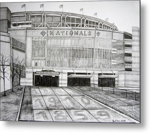 Nationals Park Metal Print featuring the drawing Nationals Park by Juliana Dube
