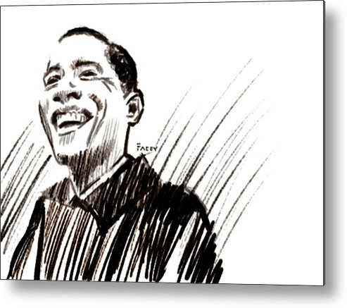 Barack Obama Metal Print featuring the drawing Obama by Michael Facey