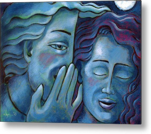 Secrets. Faces Metal Print featuring the painting Our Secret Painting 49 by Angela Treat Lyon