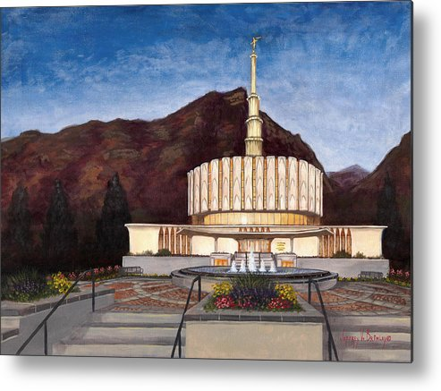 Temple Metal Print featuring the painting Provo Temple by Jeff Brimley