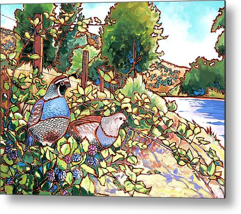 Quail Metal Print featuring the painting Quails And Blackberries by Nadi Spencer