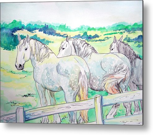 Horse Metal Print featuring the painting Resting Giants by Jenn Cunningham