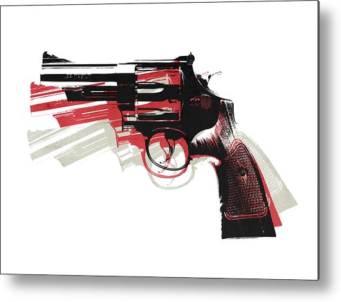 Revolver Metal Print featuring the digital art Revolver On White by Michael Tompsett