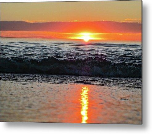 Waves Metal Print featuring the photograph Sunset Beach by Douglas Barnard