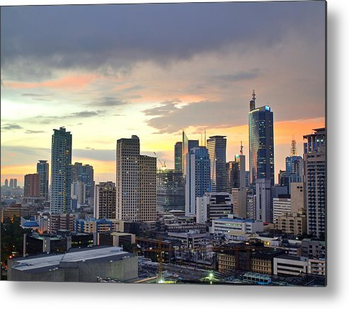 Horizontal Metal Print featuring the photograph Sunset Over Makati City, Manila by Neil Howard