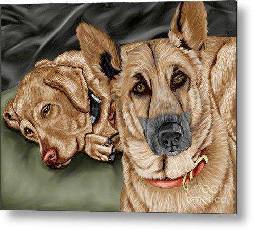 German Shepherd Metal Print featuring the painting Dogs by Karen Sheltrown