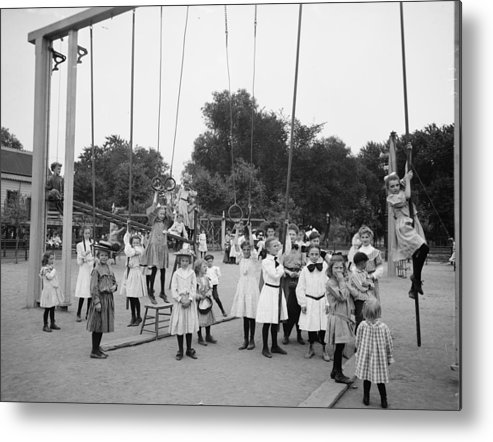 Girl Girls Children Playground Photograph Vintage 1899 Metal Print featuring the photograph Girls Playground 1899 by Stefan Kuhn