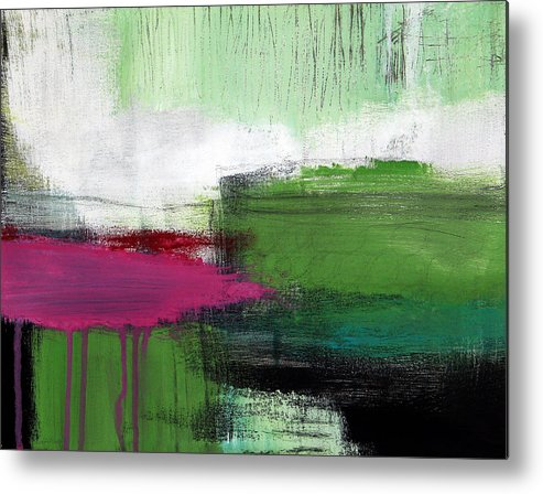 Green Abstract Painting Metal Print featuring the painting Spring Became Summer- Abstract Painting by Linda Woods