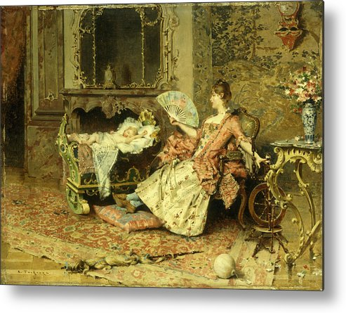 Watching; Baby; Mother; Child; Infant; Cot; Cradle; Maternal; Love; Fan; Seated; Grand; Interior; Grandiose; Rococo; Wealth; Relaxed; Relaxing; Ornate; Child; Children; 19th; Rest; Motherly Metal Print featuring the painting Watching The Baby by Edouard Toudouze