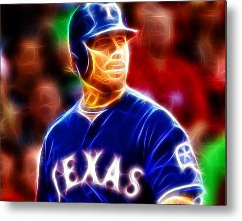 Joshua Hamilton Metal Print featuring the painting Josh Hamilton Magical by Paul Van Scott