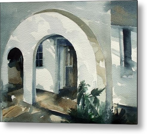 Mombasa Metal Print featuring the painting Mombasa Archway by Stephanie Aarons