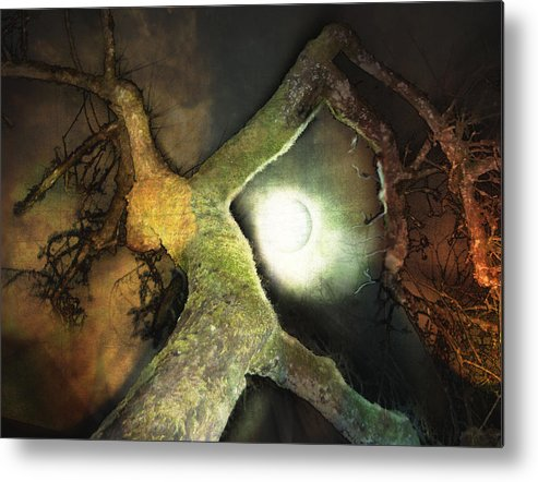Moon Metal Print featuring the mixed media Moon Song by Janet Kearns