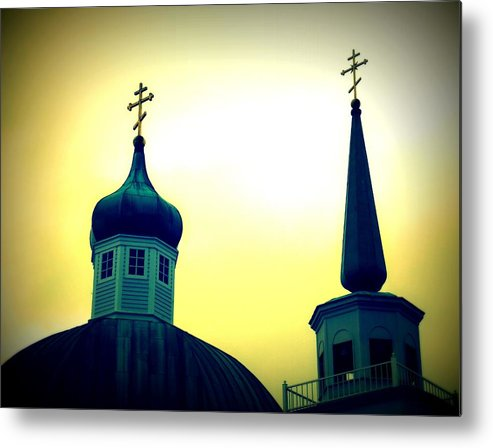 Architecture Metal Print featuring the painting Sitka Russian Orthodox 9 by Randall Weidner