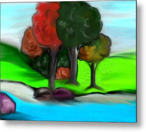 Trees Metal Print featuring the digital art Trees On River by Paula Brown