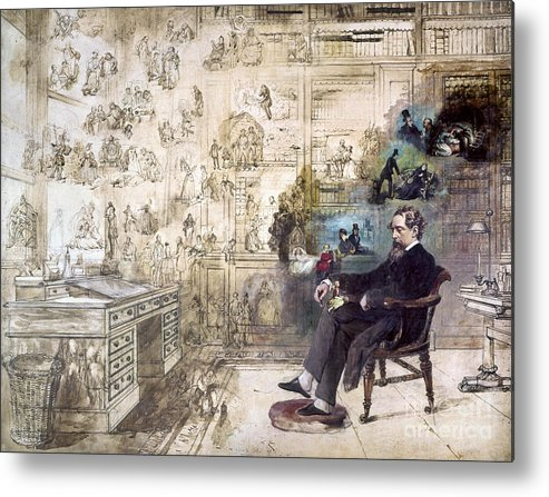 1870s Metal Print featuring the photograph Charles Dickens (1812-1870) by Granger