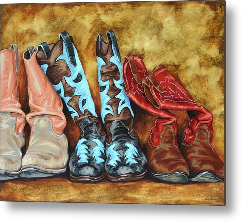 Western Metal Print featuring the painting Boots by Lesley Alexander