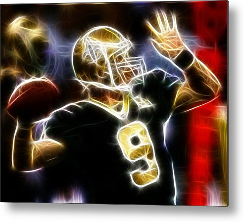 Drew Brees Metal Print featuring the digital art Drew Brees New Orleans Saints by Paul Van Scott