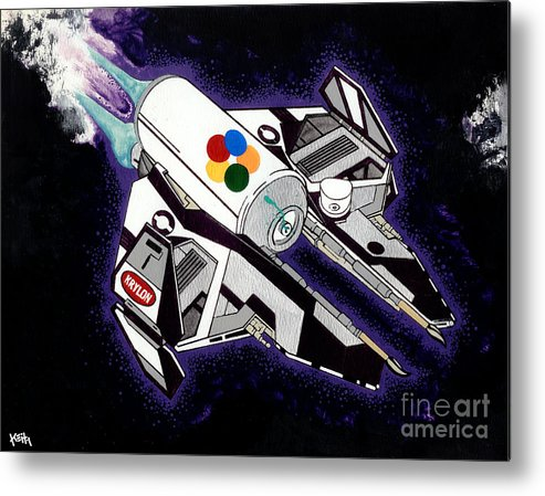 Space Metal Print featuring the painting Drobot Space Fighter by Turtle Caps