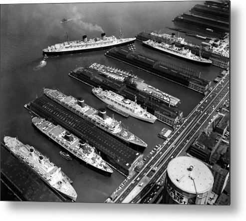 1960s Candids Metal Print featuring the photograph Luxury Liners Flanking An Aircraft by Everett