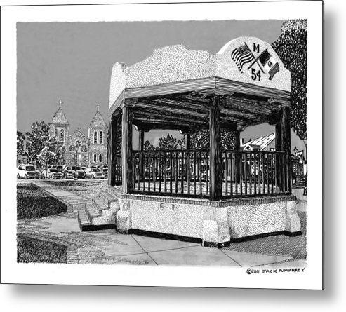 Framed Prints Of Old Mesilla Metal Print featuring the drawing Old Mesilla Plaza And Gazebo by Jack Pumphrey