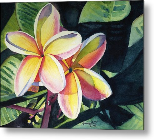 Rainbow Metal Print featuring the painting Rainbow Plumeria by Marionette Taboniar