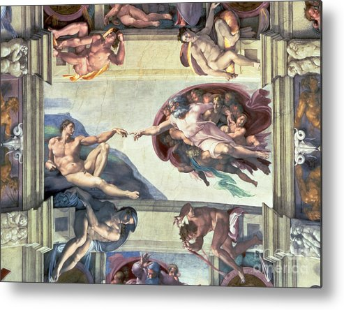 Sistine Metal Print featuring the painting Sistine Chapel Ceiling Creation Of Adam by Michelangelo