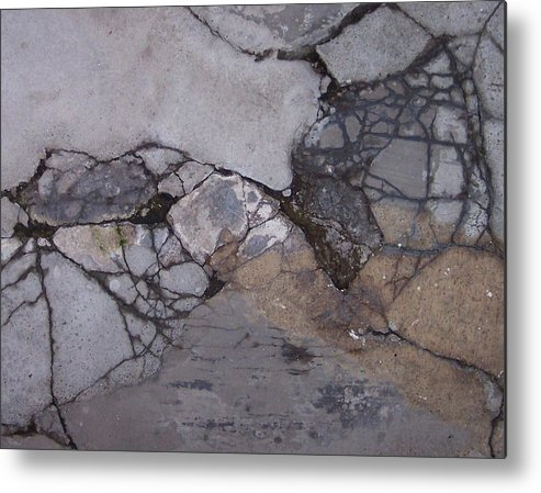 Abstract City Sidewalk Urban Chicago Industrial Metal Print featuring the photograph Step On A Crack 2 by Anna Villarreal Garbis
