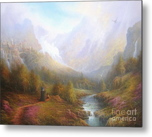 Tolkien Metal Print featuring the painting The Misty Mountains by Joe Gilronan