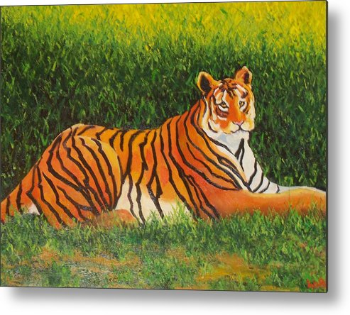 Tiger Metal Print featuring the painting Tiger by Lore Rossi