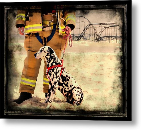 Seaside Heights Nj New Jersey Shore Hurricane Sandy Aftermath Beach Photo Photos Fireman Firefighter Firemen Dalmatian Dog Pet Fire Department Toms River Jetstar Roller Coaster Boardwalk Ocean Superstorm Metal Print featuring the photograph Hurricane Sandy Fireman And Dog by Jessica Cirz